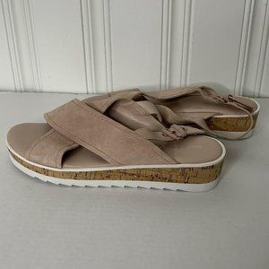 New Marc Fisher Pink Suede Leather Flat Sandals 10